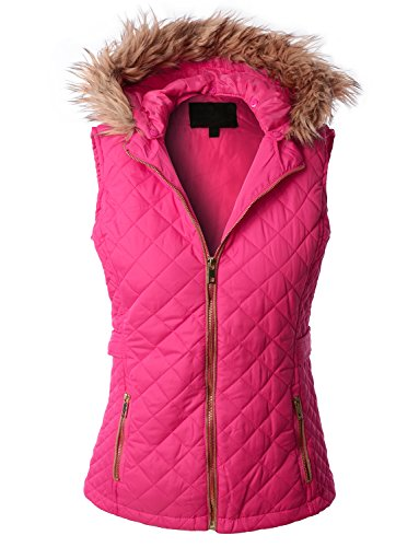 RubyK Womens Basic Padded Puffer Quilted Jacket Vest with Hoodie,Medium,RBKWV1945_FUCHSIA