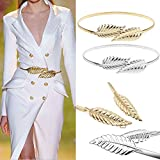 Elinadress Women's 2 pieces Metal Leaf Stretchy Elastic Belts Dress Belt Sliver&Gold