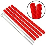 Barbuzzo Cherry Red Straws, VSCO - Set of 4 Reusable Straws & 2 Cleaning Brushes