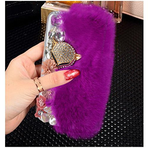 Yaheeda For Samsung Galaxy S7, Bling Crystal Flowers Fluffy Cover Rex Rabbit Fur Case Winter Handmade Soft Crystal Case Shell Creative