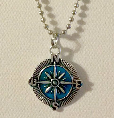 (Antique Silver Ocean Blue Compass Handcrafted Pendant Necklace)