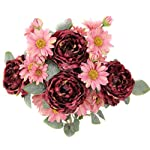 Admired-By-Nature-9-Stems-Artificial-Daisy-and-Wild-Rose-Flowers-Bush-for-Home-Office-Hotel-and-Bridal-Wedding-Arrangement-Decoration-Wine-Mix