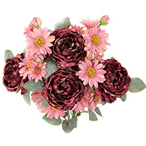 Admired By Nature 9 Stems Artificial Daisy and Wild Rose Flowers Bush for Home, Office, Hotel and Bridal Wedding Arrangement Decoration, Wine Mix 2