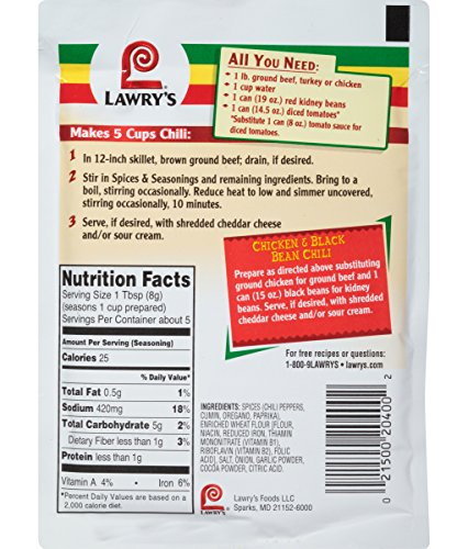 Lawry's Chili Seasoning Mix, 1.48 oz (Case of 12) by Lawry's (Image #1)