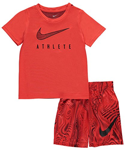 Nike Little Boys' Toddler 2-Piece Outfit (Sizes 2T - 4T) - max orange, 2t (Nikes For Toddlers)