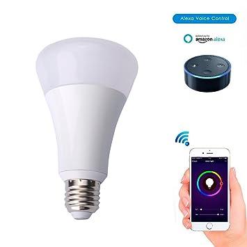 Smart color chaning luz LED Bombilla, WiFi bombilla LED luz trabajo con Alexa, luz