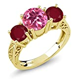 2.40 Ct Pink Mystic Topaz Red Ruby 18K Yellow Gold Plated Silver 3-Stone Ring