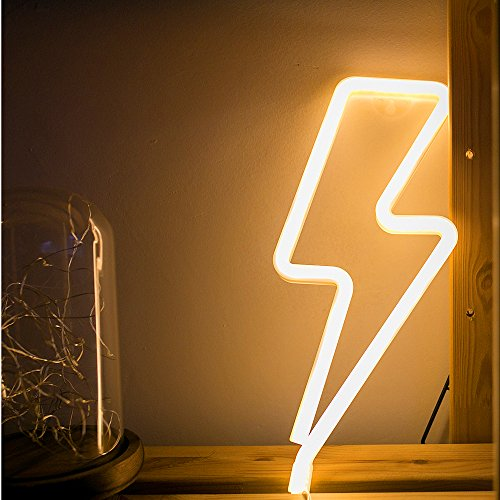 Warm White LED Night Light Neon Tube Led Lamp USB Charge Battery Powered Children's Room Bar House Decorative Atmosphere Light Dormitory Room Decoration Props (Warm White - Lightning)