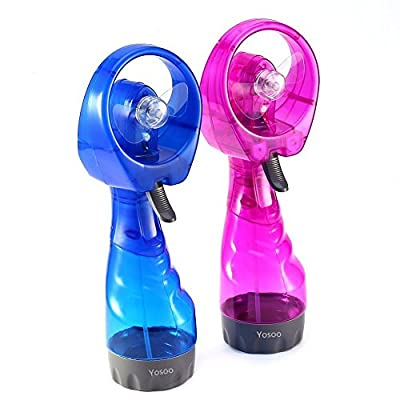 Yosoo 2-Pack Misting Fans, Mini Handheld Spray Fan for Summer Beach and Camping Gift, Random Color