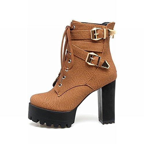 Charm Foot Mujeres Fashion Lace Up Zipper Chunky Botas Cortas De Tacón Alto Marrón