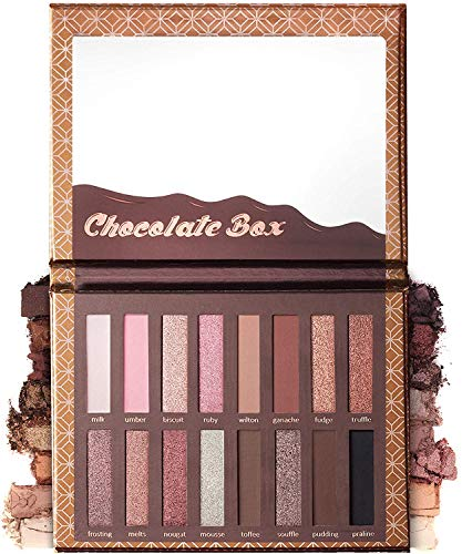 Eyeshadow Palette Chocolate - 16 Matte & Shimmery Colors - Highly Pigmented - Vegan & Cruelty Free - Professional Makeup Eye Shadow Kit - Nudes, Warm, Natural, Bronze, Neutral, Smoky Make Up Shades.]()