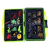 Goodtrade8 Clearance 100 Pieces 24 Kinds of Multifunctional Fishing Kit Accessories Tools Set Hard Bait Hooks+ Box