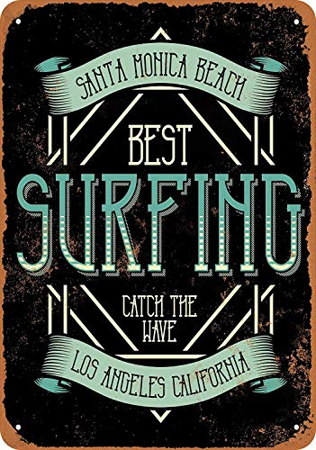 (QDTrade Vintage Look Tin Metal Sign 8 x 12inch - Santa Monica Beach Surfing)