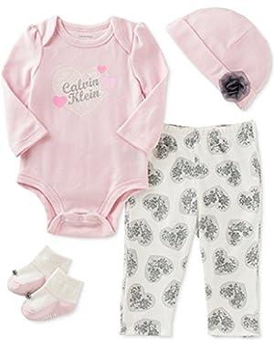 Baby Girls 4 Piece Cap, Bodysuit, Pant & Socks Layette Set