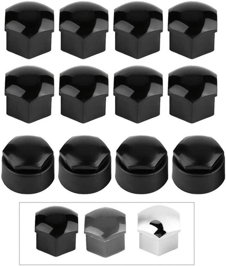 Color : Black Wholesale Protector de tornillo 20pcs 17mm Tuerca Rueda de coche Auto Hub Tornillo Protecci/ón Tapa antirrobo for Audi Car accesorios de alta calidad