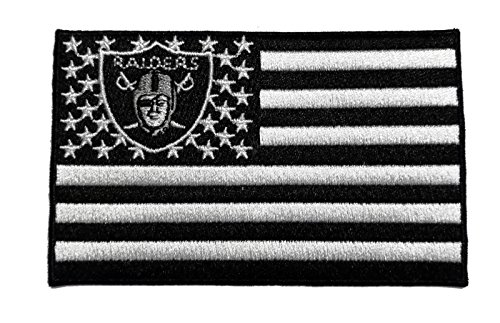 Oakland Raiders Raider Nation 'American Flag' Banner Iron-on Jersey Patch by Mastodon