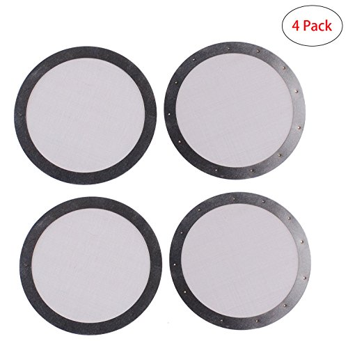 Podoy Metal Filter for AeroPress Reusable Coffee Premium Stainless Steel Silver Ultra Fine Metal Mesh Filter (4 pack) (Works Coffee Metal)
