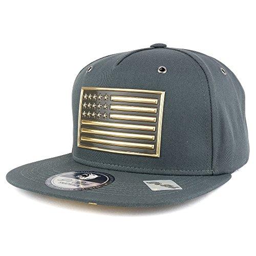 (Trendy Apparel Shop Metallic American Flag Cotton Flatbill Adjustable Snapback Cap - Charcoal/Gold)