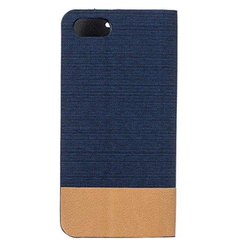 Para iPhone 7 patrón de lona PU + TPU horizontal Flip caja de cuero con ranuras de titular y tarjeta Fucaiqian ( Color : Brown ) Dark blue