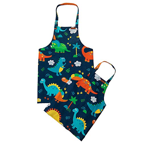 ETIUC Cute Dinosaur Kids Apron Adjustable Cotton Aprons for Boys Girls Children Bib Aprons for Artists Chef Baking Cooking Parent Child Apron (4-10 Years)(Dinosaur - Style Childrens Apron Bib