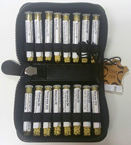 Kleine Taschenapotheke, PORTOFREI, schwarz, hochwertiges Leder Etui mit Strahlenschutz. 16 homöopathische Mittel