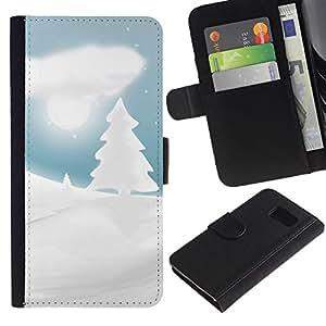 Leather Etui en cuir || Samsung Galaxy S6 || Invierno Nevado Forrest Navidad @XPTECH