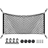 Ideapro Car Rear Cargo Net, 40*16 Inch Multipurpose Elastic Trunk Storage Organizer Flexible Mesh with 4 Adjustable Mounting Screw