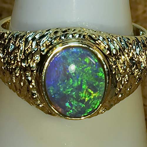 SOLID LIGHTNING RIDGE BLACK CRYSTAL OPAL IN SOLID 14K YELLOW GOLD 15034