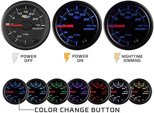 "2 1//16/"" 52mm GlowShift Black 7 Color Series Analog Clock Gauge 12 Volts GS-C718"