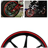 "MotorBRO Red Reflective Motorcycle Car Rim Tape Wheel Stripe Decal USA 16"" 17"" 18"" 9mm Width"