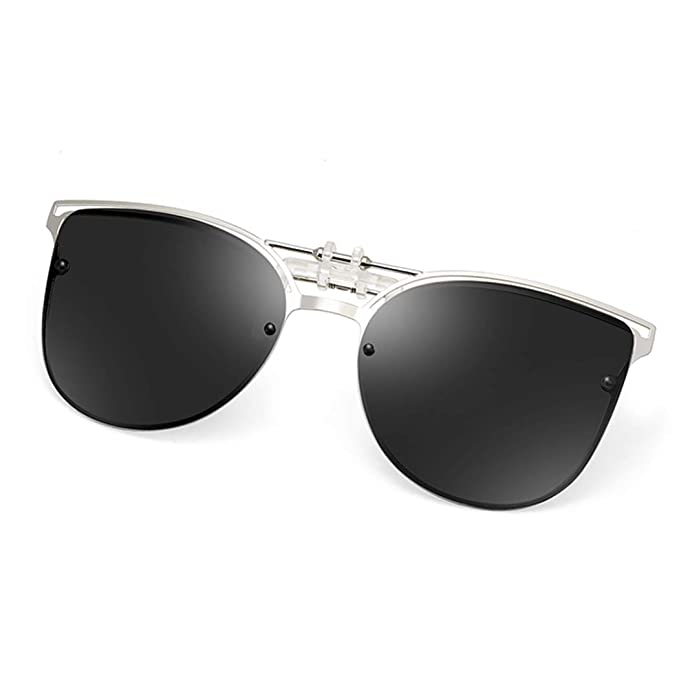 ae6d9a6651634 Clip on Sunglasses Polarized Anti-Glare UV400 Lens Metal Clip-on Sunglasses  Over Prescription