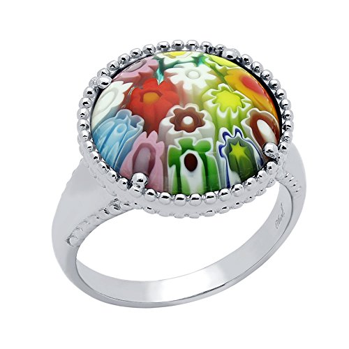 Round Multicolor Murano Millefiori Glass Giant Solitaire Ring Rhodium Plated 925 Sterling Silver Size 7