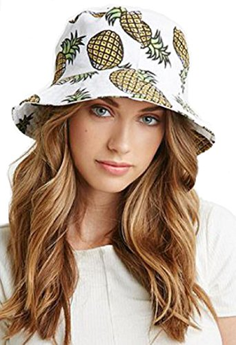 CoziBreath Reversible Bucket Hat Pineapple Print for Teens Sun Bucket Hat  Outdoor Fishing Hat 0163709abcec