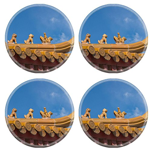 MSD Natural Rubber Round Coasters IMAGE ID: 3027305 Asian style decorated roof close up