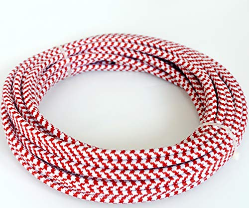 (32.8 ft (10M) 18/3 Round Cloth Covered 3-Wire Round Cord, Vintage Lamps Pendant Light (Red & White))