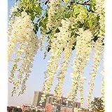 12pcs 3.4ft Artificial Silk Wisteria Fake Garden Hanging Flowers Vines Wedding (white)