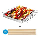 Unicook Heavy Duty Stainless Steel Barbecue Skewer Shish Kabob Skewer Set,6 Pieces Skewers and Grill Rack Set for Meat & Vegetables, No mess for Your Grill,Sturdy,Reusable,Last Longer Than Non Stick Skewers