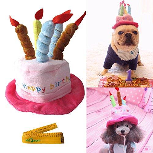 Wiz BBQT Cute Adorable Cat Dog Pet Happy Birthday Party Hat with Cake and 5 Colorful Candles Design Cosplay Costume Accessory Headwear for Dogs -