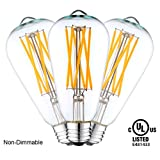 YUURTA ST64 Vintage Edison LED Filament Light Bulbs - 6.5W Non-Dimmable 2700K Warm White 700 Lumens Medium Base E26 120V Omni Directional 65W Equivalent UL-Listed Pack of 3
