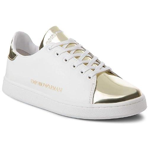 27d3e91a888f Emporio Armani DI Giorgio Armani Sneakers Women White Gold 40   Amazon.co.uk  Shoes   Bags