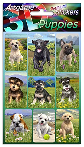 Puppies 3D Lenticular Stickers by Artgame - One Sheet of 9 Assorted Dog Stickers from Artgame