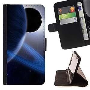 Momo Phone Case / Flip Funda de Cuero Case Cover - Anillos de Saturn Planeta Azul Sistema Solar Sun extranjero - Huawei Ascend P8 Lite (Not for Normal P8)