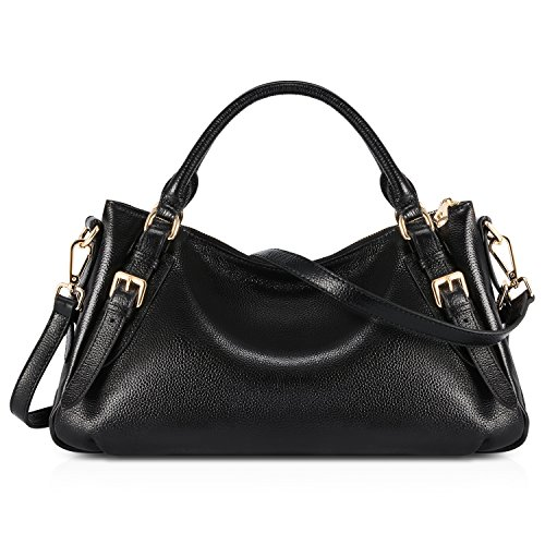 (Kattee Women's Genuine Leather Shoulder Bag Black)