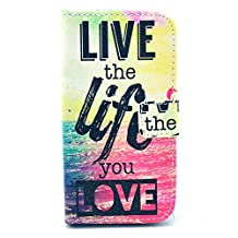 Galaxy Core LTE Case , Galaxy G386f Case ,Camiter Live The Life You Love Letters Premium PU Leather Wallet Folio Protective Skin Cover Case for Samsung Galaxy Core LTE G386f(Build In Stand Function/ Card Slot)