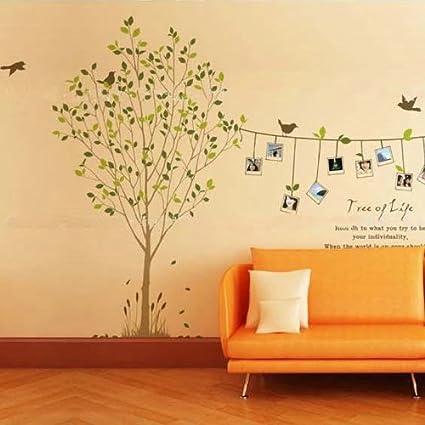Anself pegatinas de pared La foto del árbol del pájaro Marco pared ...