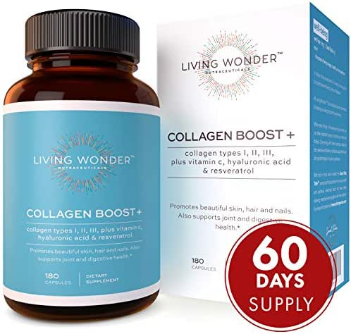 Collagen Boost Plus - Collagen Pills for Women -180 Collagen Capsules with Vitamin C, Hyaluronic Acid, Resveratrol - Multi-Collagen Type 1,2,3 - Anti-Aging Supplement for Skin, Hair, Nails