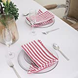 Cotton Dinner Napkins Red & White Stripe, Set of 12 (20 x 20 Inches), Over Sized, Embroidery And Print, Lint Free, Quick Dry, Hemmed With Mitered Corners