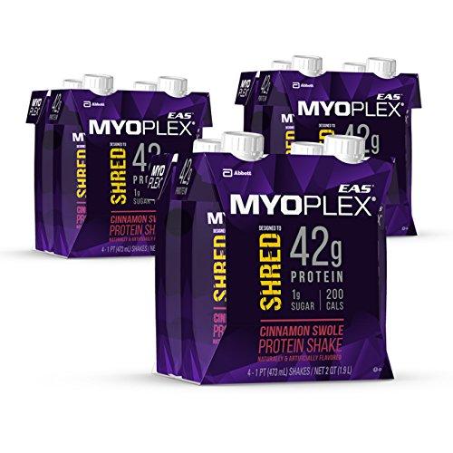 EAS Myoplex Shred Protein Shake, 42 Grams of Protein, Cinnamon Swole, 16 ounces, 12 count