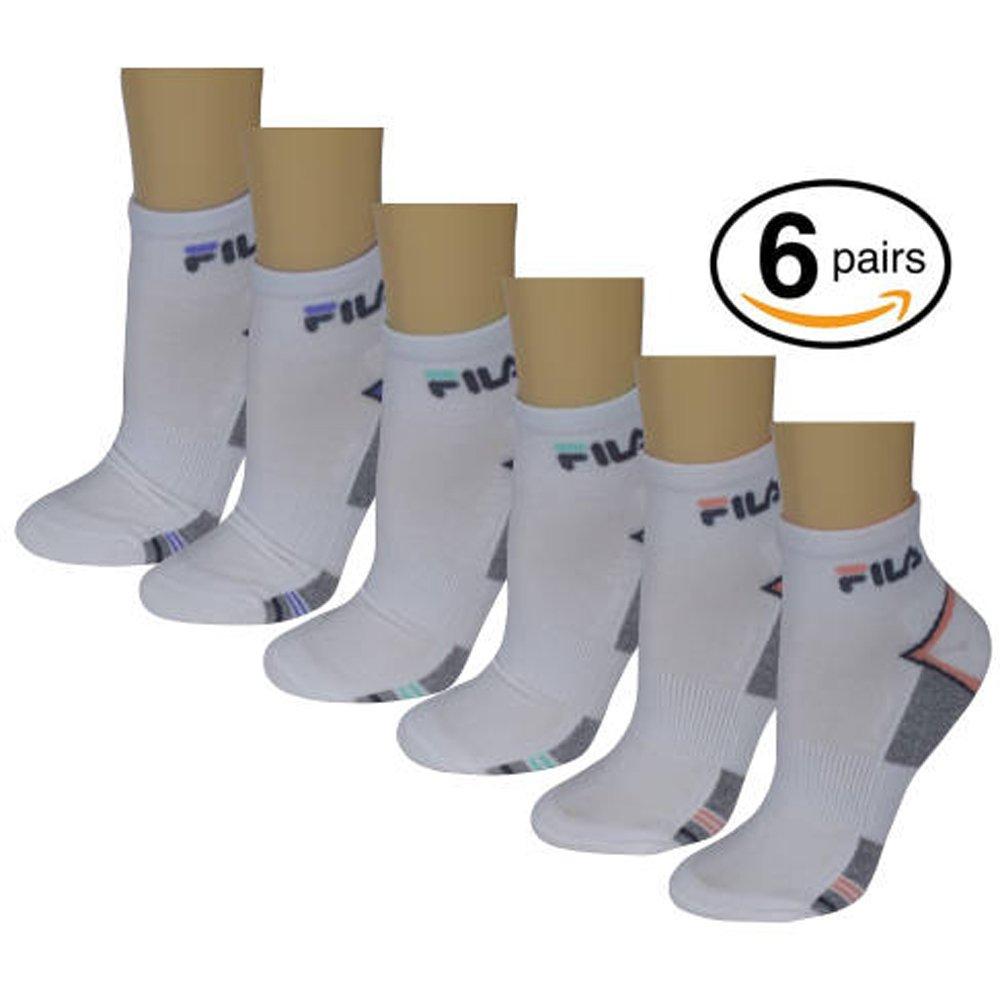 Fila Womens Quarter Swift-Dry Sport Socks,Asst. Colors, 6-Pack White 9 to 13