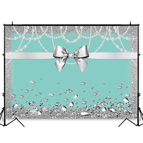 Funnytree 7x5ft Breakfast Bowknot Co Blue Backdrop Turquoise Bow Diamonds Sweet 16 Princess Girl Birthday Photography Background Bridal Shower Wedding Party Cake Table Decoration Photo Booth Banner
